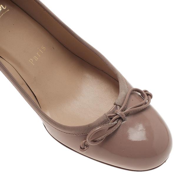 Christian Louboutin Beige Patent Marcia Balla Bow Pumps Size 35.5