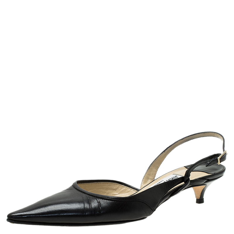 Jimmy Choo Black Leather Varia Slingback Kitten Heel Sandals Size ...