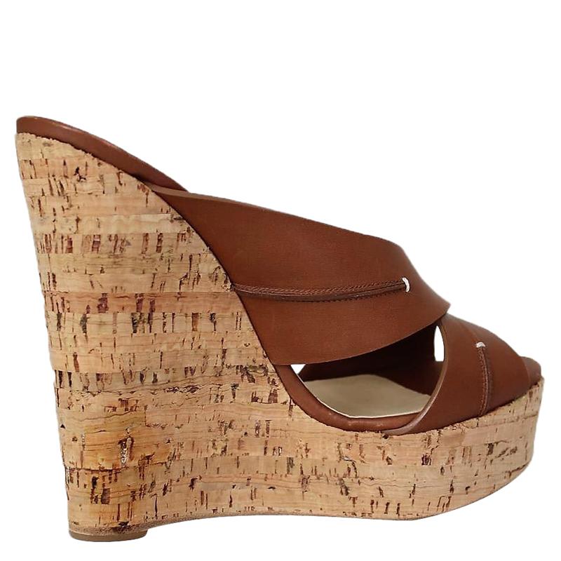 8352b05d0a7 ... slide wedges men s louis vuitton sneakers - Christian Louboutin Brown  Leather Criss Cross Platform Cork Wedge . ...