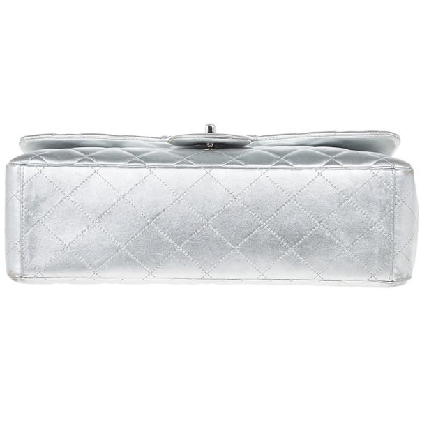 Chanel Metallic Silver Leather Maxi Flap Bag