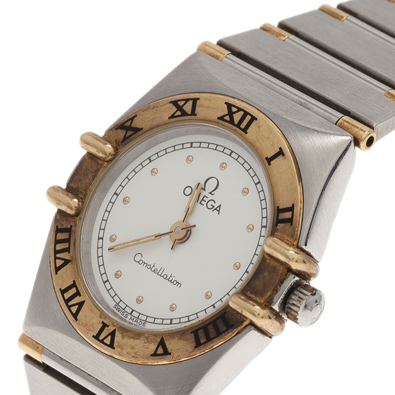 Omega White Stainless Steel and 18K Yellow Gold Constellation 6014 Women's Wristwatch 22.5MM