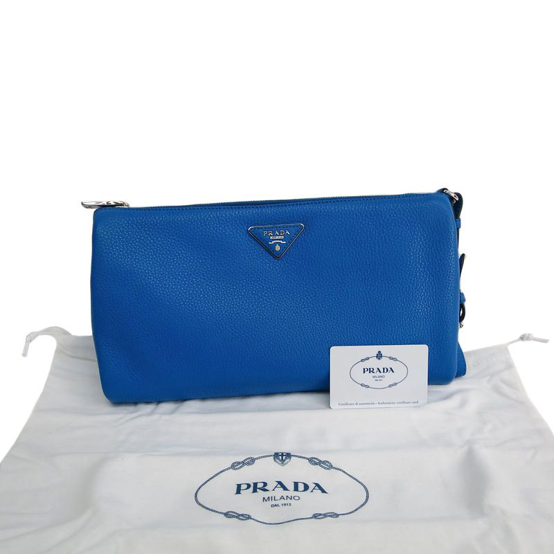 discount prada wallet - Prada Blue Vitello Daino Leather Clutch - Buy & Sell - LC