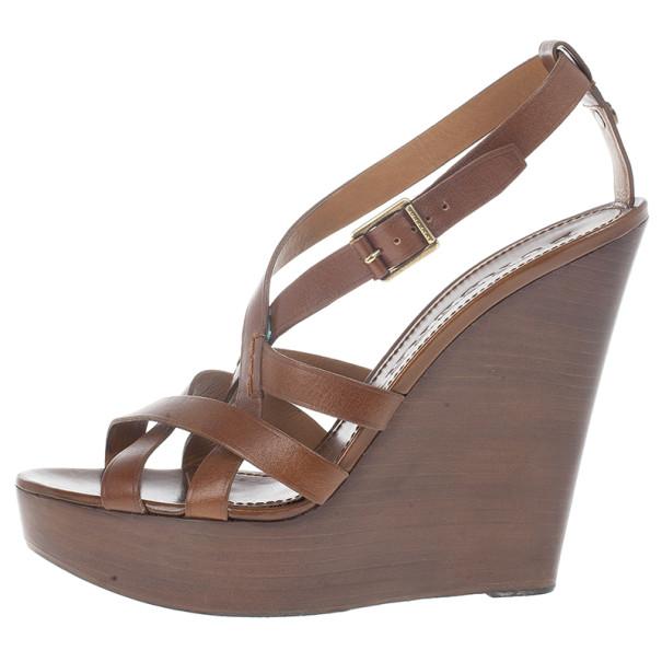 Burberry Brown Delamer Leather Platform Wedge Sandals Size 41