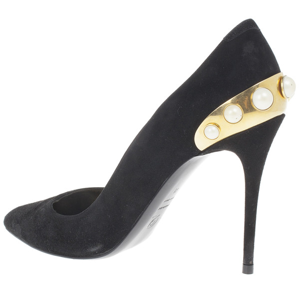 Alexander McQueen Black Suede Gold Trimmed Faux Pearl Pumps Size 41