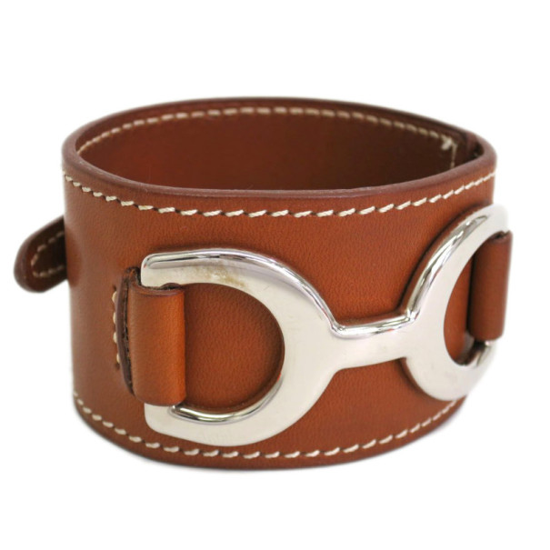 Hermes Brown Leather Bracelet 17CM
