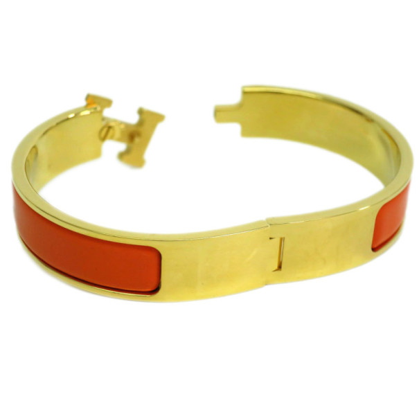Hermes Clic Clac H Orange Enameled Gold-Plated Bracelet PM