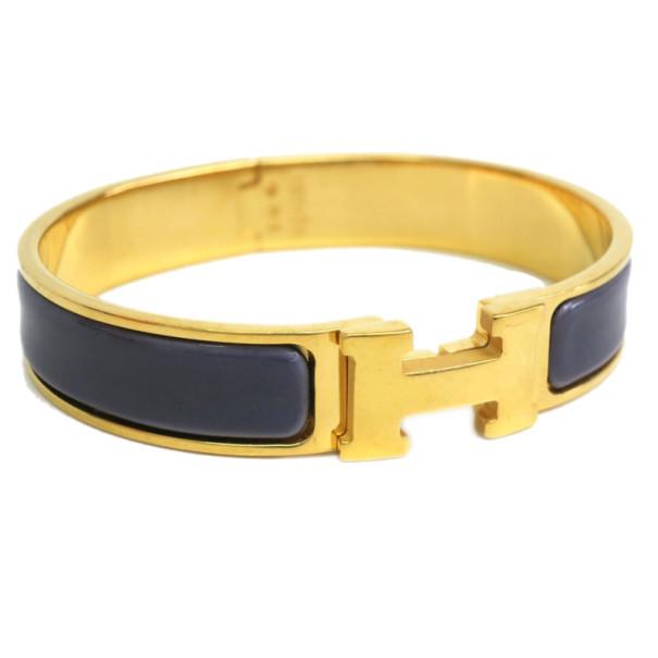 Hermes Clic Clac H Purple Enameled Gold-Plated Bracelet PM
