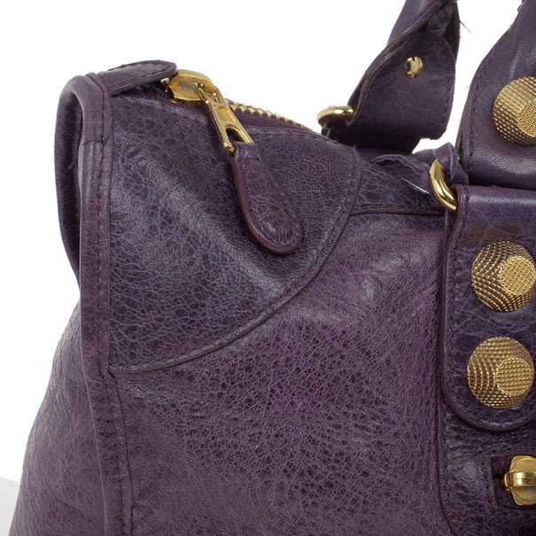 Balenciaga Purple Lambskin Giant Work