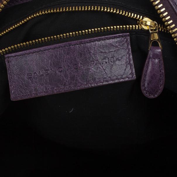 Balenciaga Purple Lambskin Giant Work