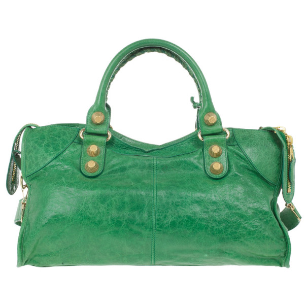Balenciaga Green Lambskin Giant Part Time Tote