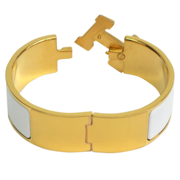 Hermes Clic Clac H Wide White Enamel Gold-Plated Bracelet PM