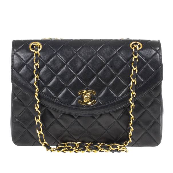 Chanel Vintage Black Quilted Lambskin Classic Flap Bag