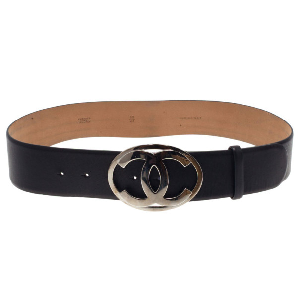 Chanel CC Logo Black Leather Belt 80CM