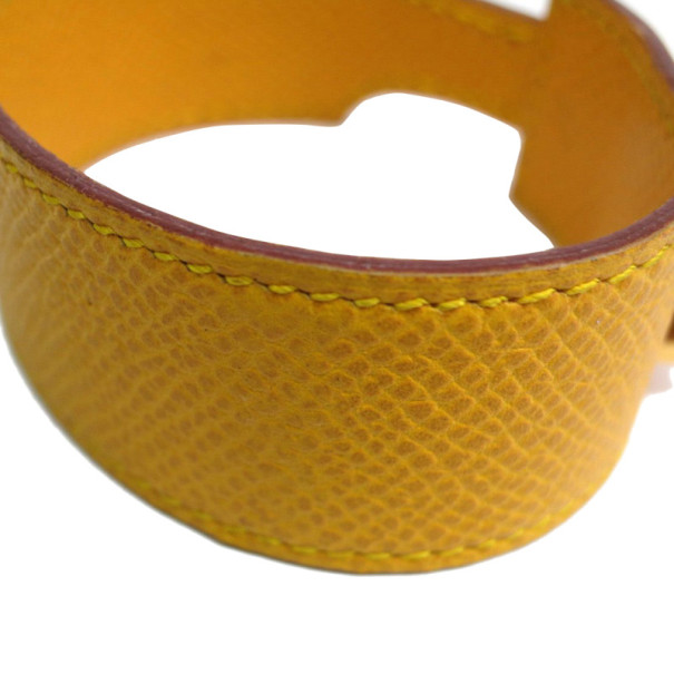 Hermes Artemis Yellow Leather Bracelet M