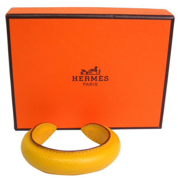 Hermes Yellow Couchevel Leather Bangle S