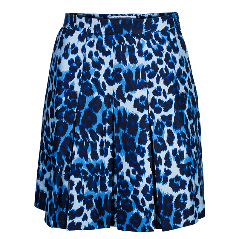diane furstenberg white blue leopard print gemma skirt