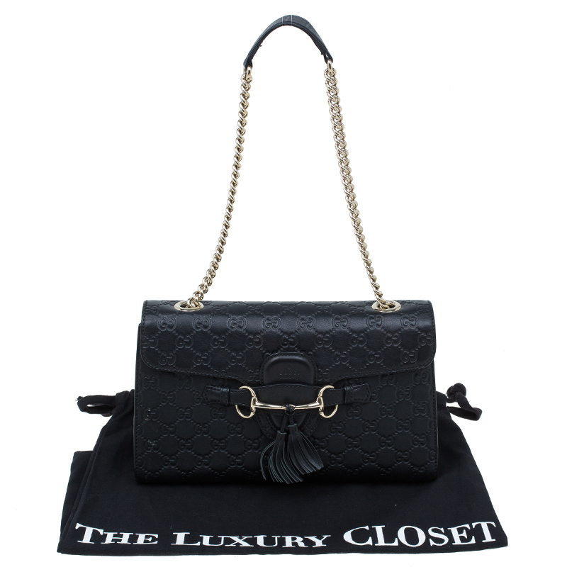 Gucci Black Guccissima Leather Emily Chain Shoulder Bag