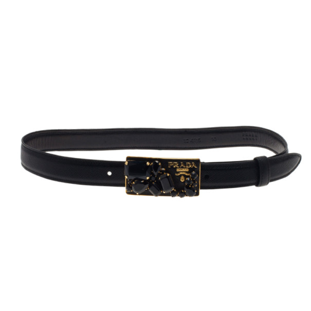 Prada Black Saffiano Studded Buckle Belt 75CM