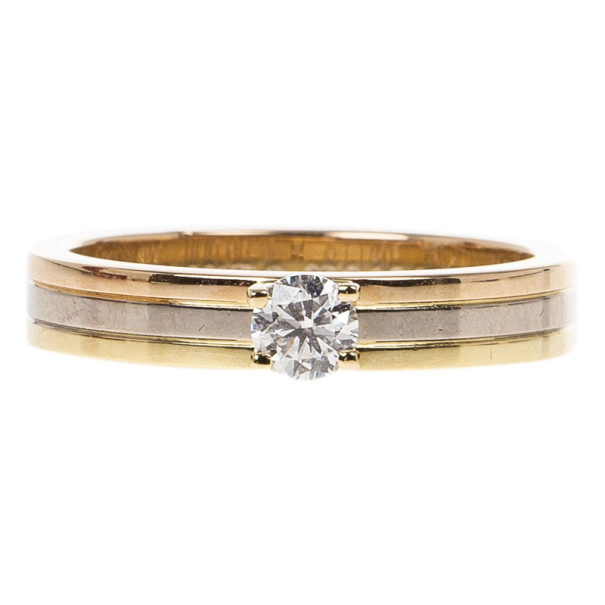 Cartier Three Gold 0.25ct Diamond Solitaire Ring Size 54