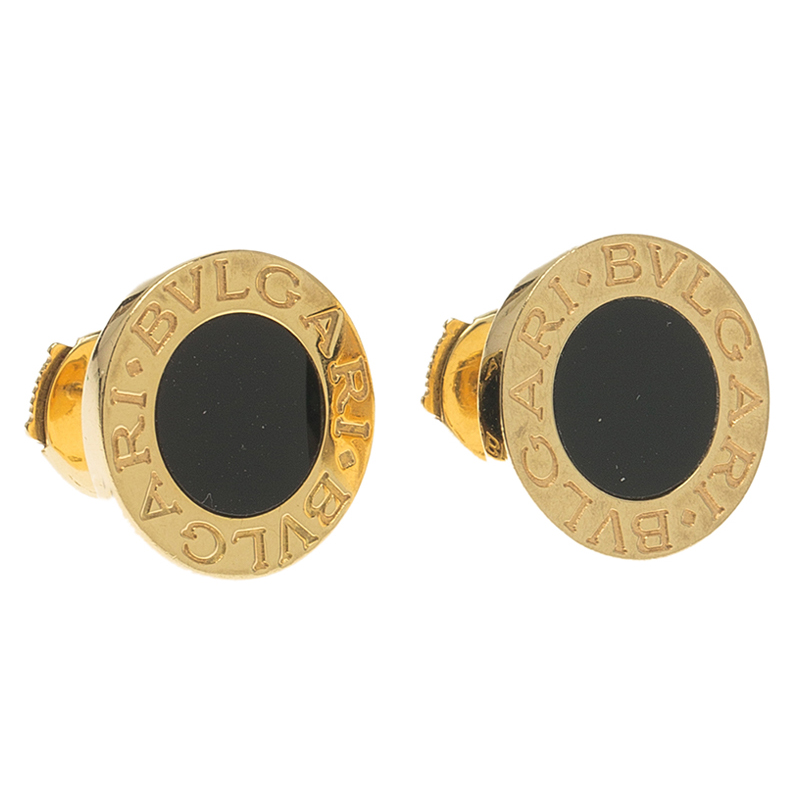 Bvlgari Onyx Yellow Gold Stud Earrings