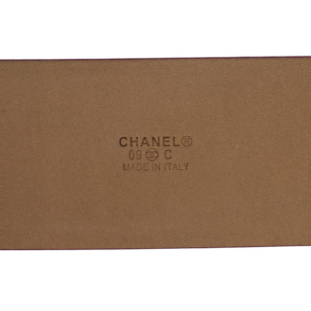 Chanel CC Logo Pink Leather Belt 90 CM