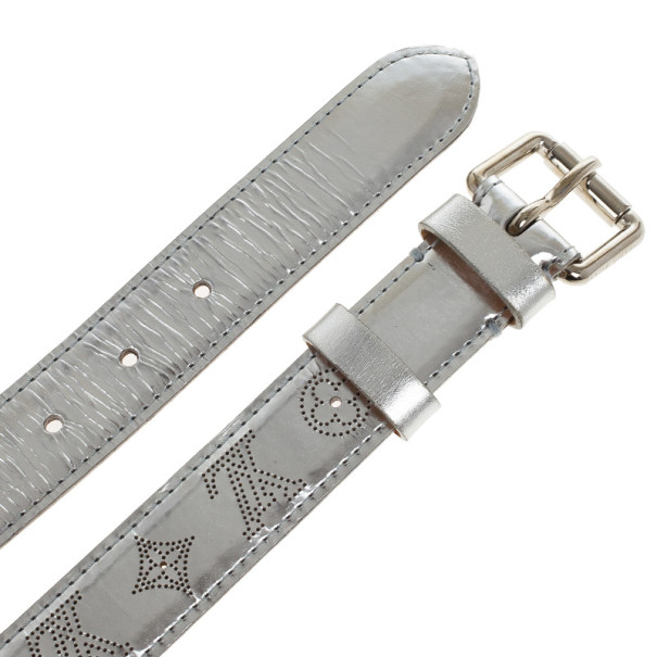Louis Vuitton Silver Leather Mahina Perforated Belt Size 90 CM