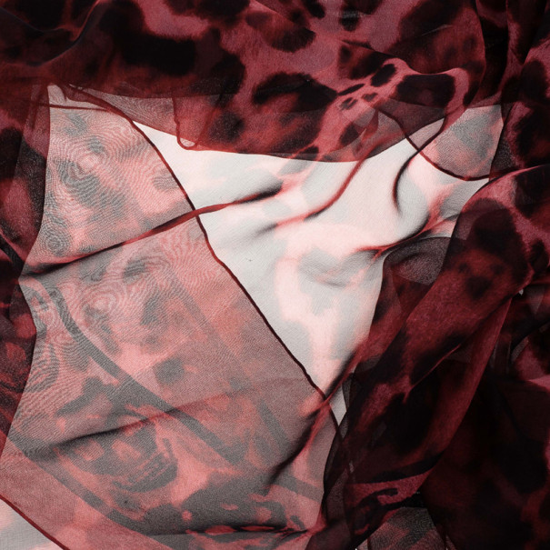 Alexander McQueen Red Chiffon Animalier Skull Square Scarf