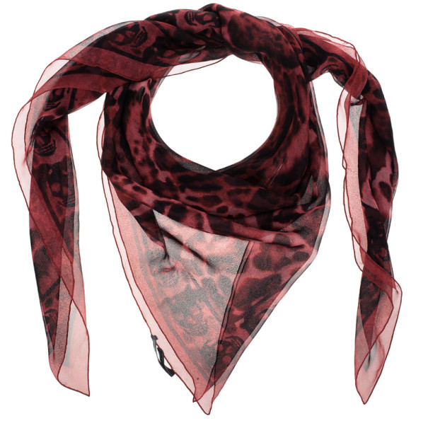 Alexander McQueen Red Chiffon Animalier Skull Square Scarf