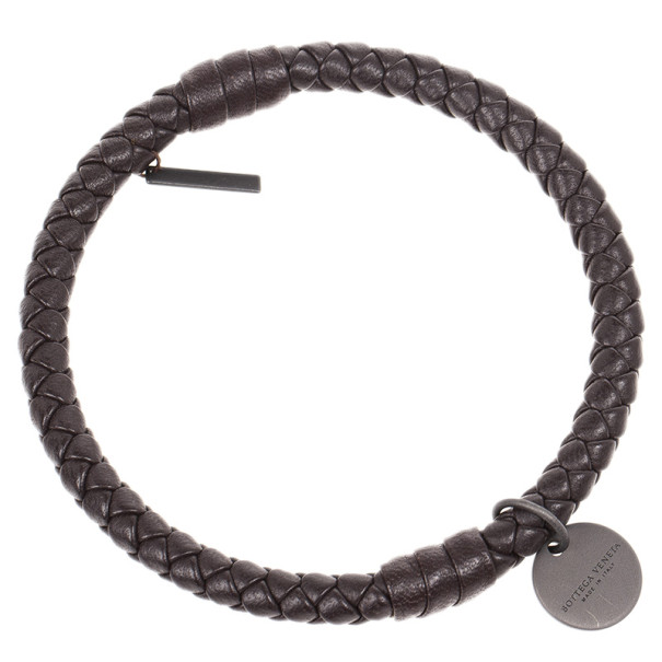 Bottega Veneta Intrecciato Nappa Dark Brown Bracelet Size M