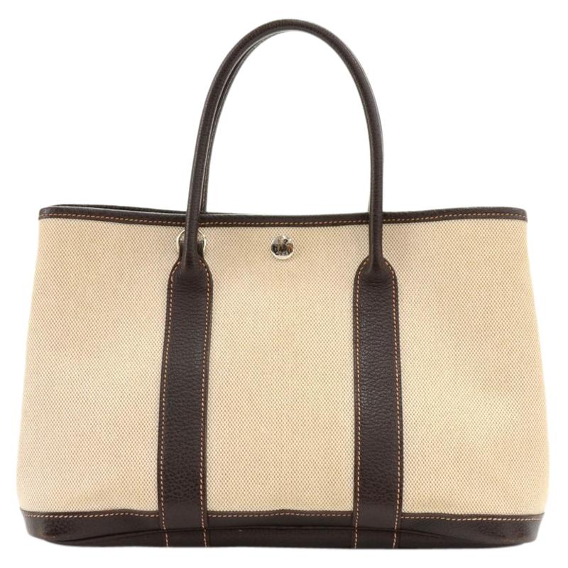 Hermes Bi Color Toile Canvas/Leather Garden Party 30 Bag