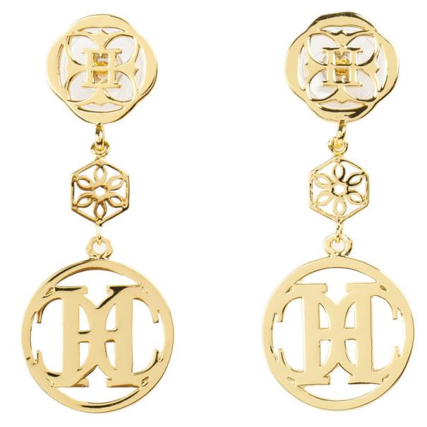 Carolina Herrera Gold Tone Pendant Earrings