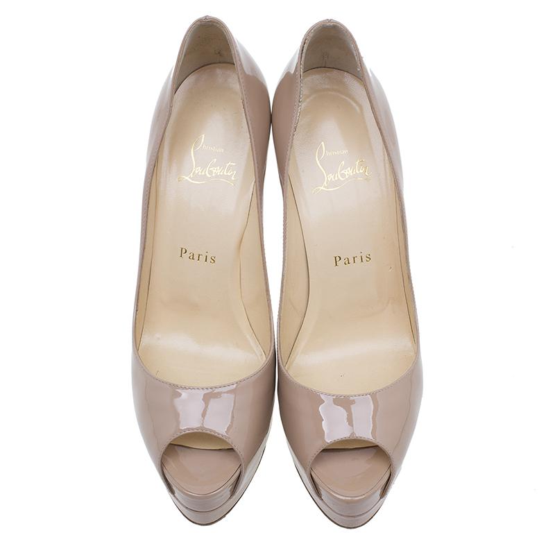 Christian Louboutin Beige Patent Altadama Peep Toe Platform Pumps Size 38.5