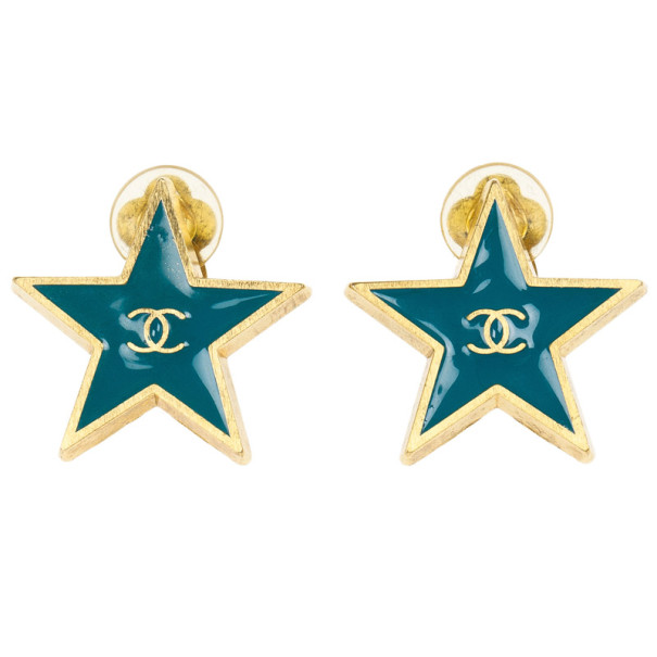 Chanel Star Blue Gold Tone Metal Earrings