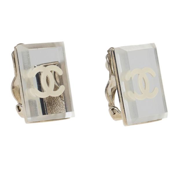 Chanel CC Rectangular Mirror Stud Earrings