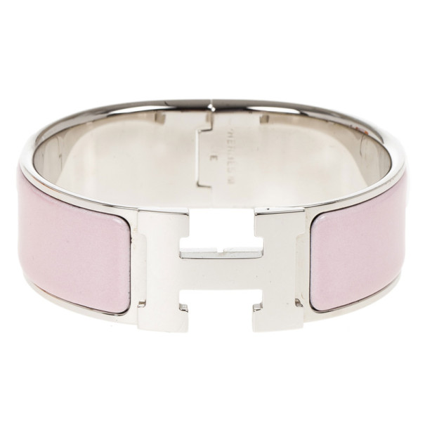 Hermes Clic Clac H Wide Pink Enameled Palladium Plated Bracelet GM