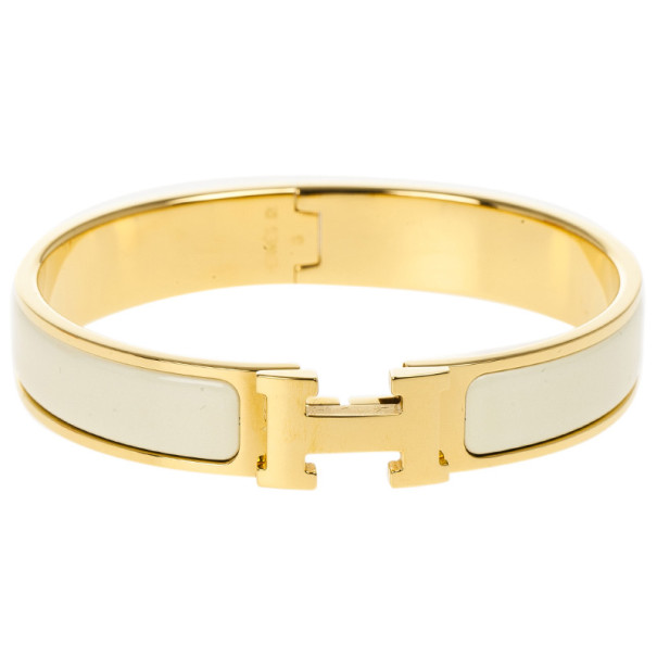 Hermes Clic Clac H Cream Enameled Gold Plated Bracelet GM