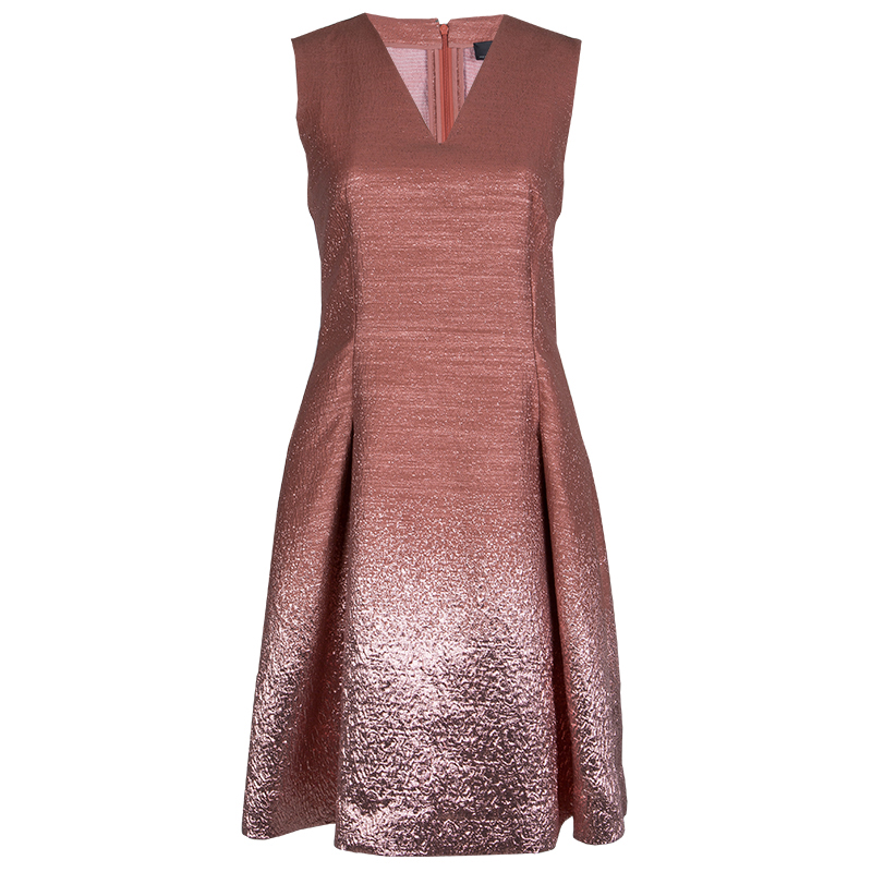 Fendi Blush Pink Metallic Sleeveless Dress S