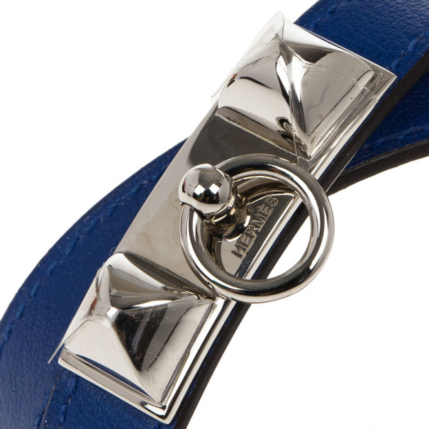 Hermes Swift Rivale Double Tour Electric Blue Bracelet M