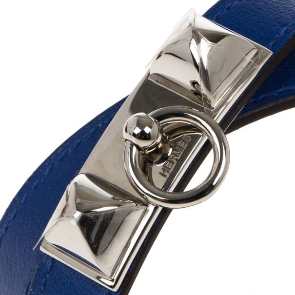 Hermes Swift Rivale Double Tour Electric Blue Bracelet M