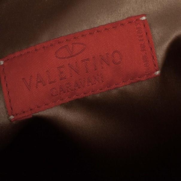 Valentino Brown Leather Catch Satchel