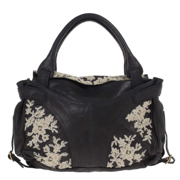 Valentino Black Leather Urban Lace Satchel