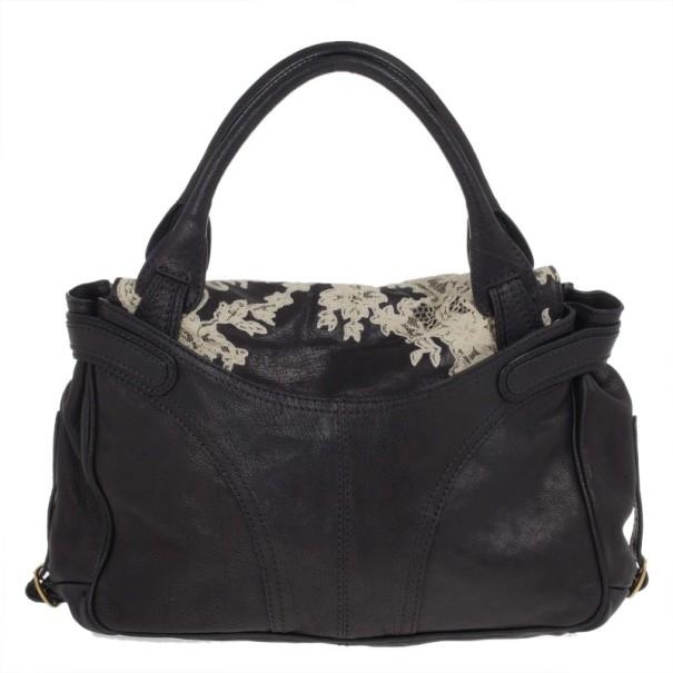 Valentino Black Leather Urban Lace Satchel