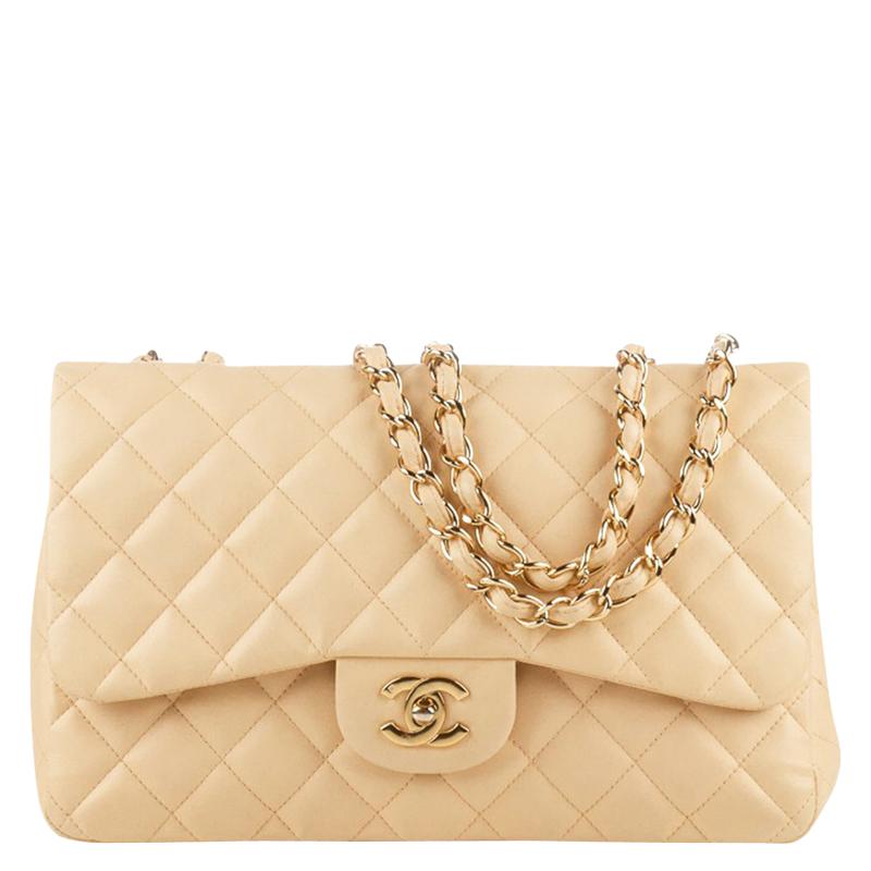 3efe6b63e97c02 ... Chanel Beige Quilted Lambskin Jumbo Vintage Classic Flap Bag. nextprev.  prevnext