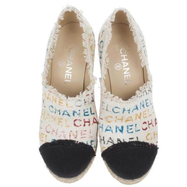 Chanel White Canvas Cap Toe Espadrilles Clogs Size 38.5
