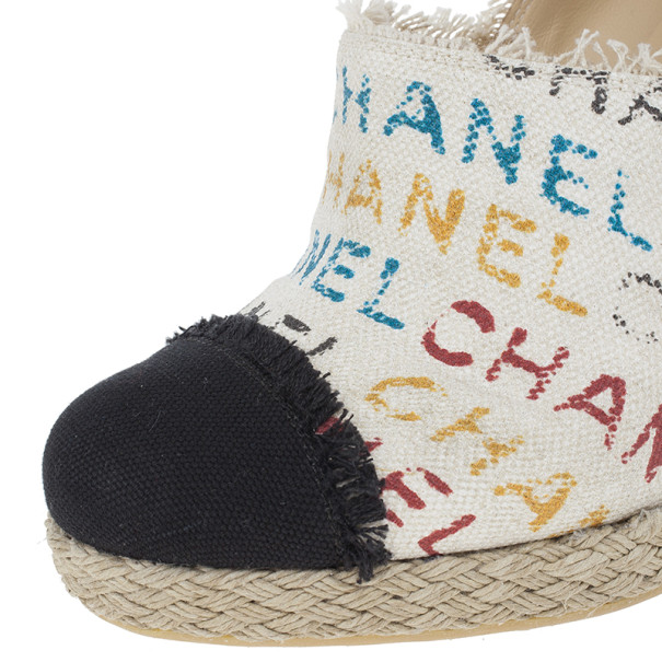 Chanel White Canvas Cap Toe Espadrilles Clogs Size 38.5