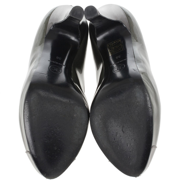 Chanel Metallic CC Cap Toe Pumps Size 38