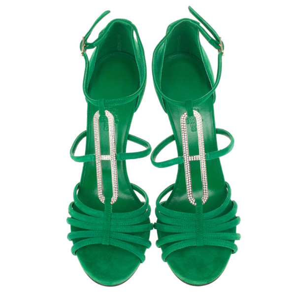 Hermes Green Suede Icône Strappy Sandals Size 38.5