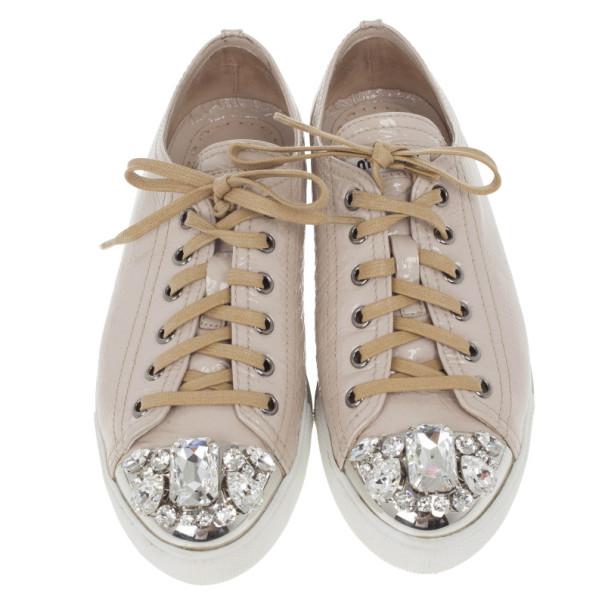 Miu Miu Nude Patent Leather Jewel Studded Cap Toe Sneakers Size 38