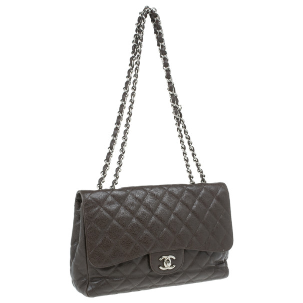 Chanel Brown Leather Jumbo Flap Bag