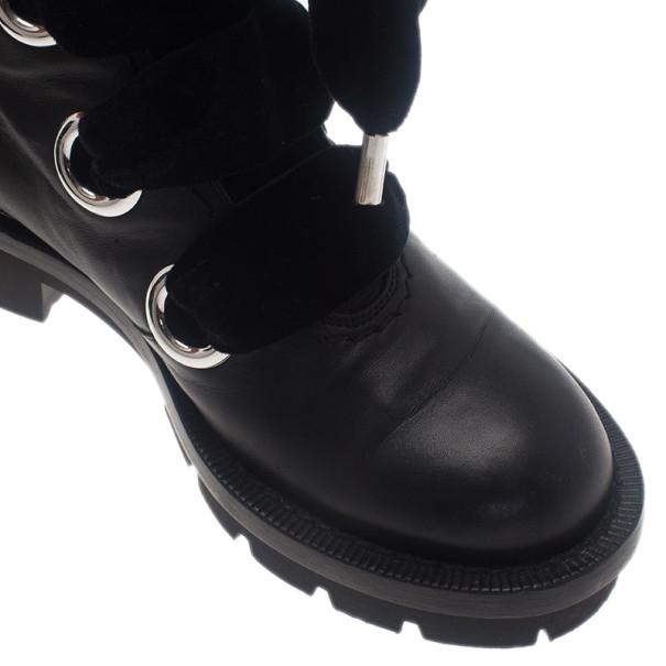 Alexander McQueen Black Leather Combat Boots Size 38.5